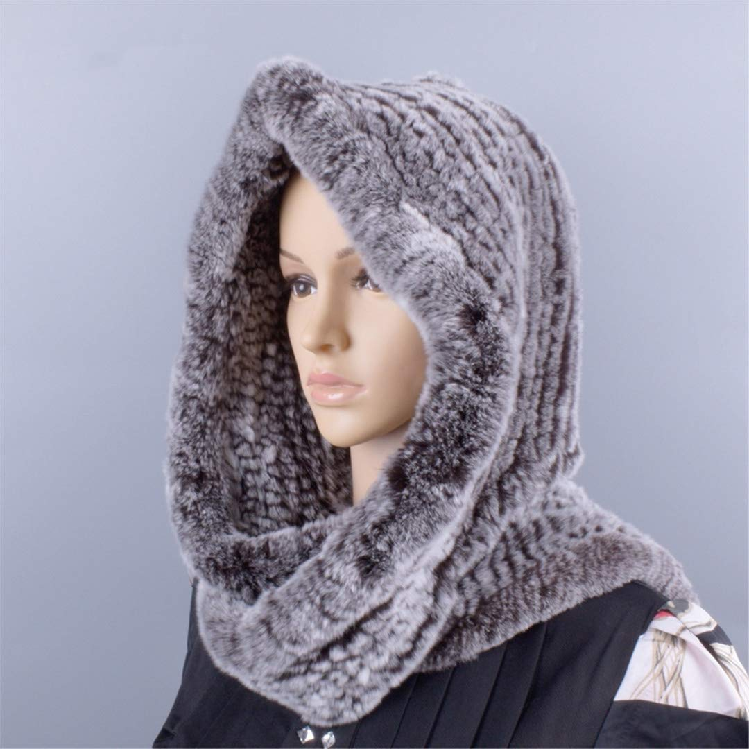 Knitted Fur Hood Real Rex Scarf Hat For Women Winter Snow Warm Large-Knitted Hat Black 56to59cm by Morussnta (Image #3)