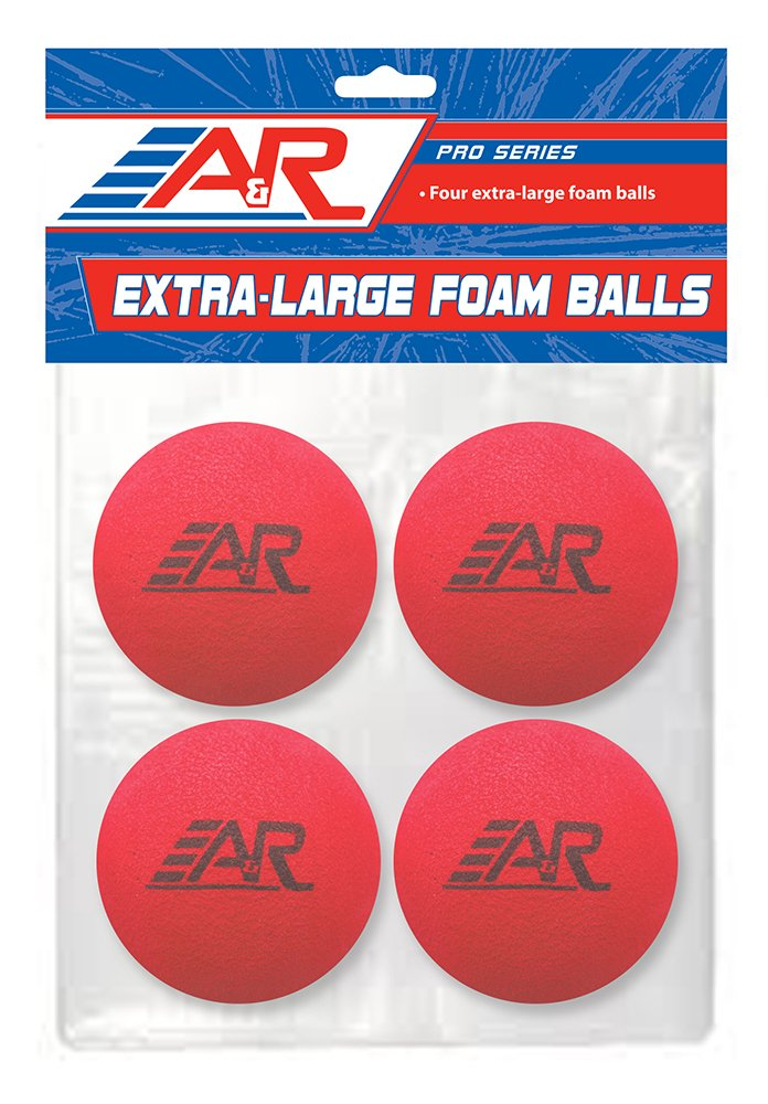 A&R Sports Pro Series Extra Large Foam Balls (4 Pack), Red/Blue