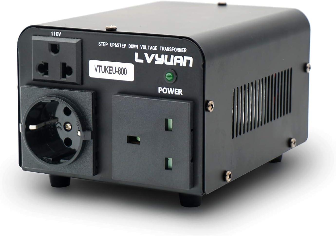 Yinleader - Transformador de corriente (800 VA, 110 V, 800 W, entrada: 110 V o 220 V, 110 V y 220 V): Amazon.es: Electrónica