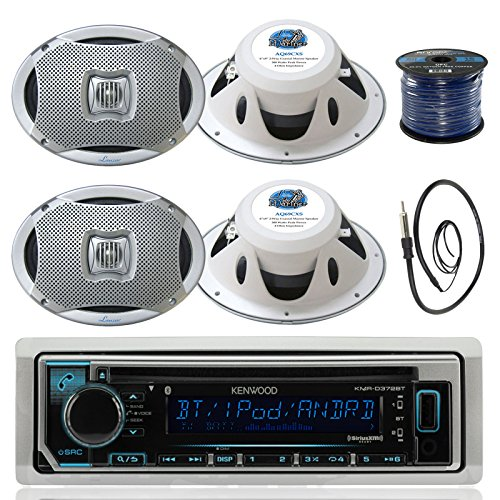 Kenwood KMR-D372BT in-Dash Marine Boat Audio Bluetooth CD Player Receiver Bundle Combo with 4X 500 Watts 6X9-Inch 2-Way Marine Silver Coaxial Speakers + Radio Antenna + 16g 50FT Marine Speaker - Player Kenwood Indash Cd