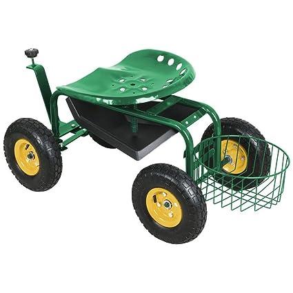 Topeakmart Green Heavy Duty Garden Rolling Cart Work Seat With Tool Tray,  Height Adjustable Garden