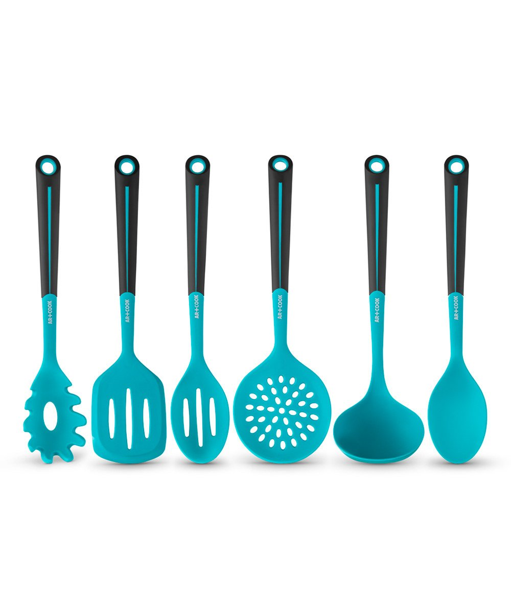 Amazon.com: Art and Cook 6 Piece Silicone Utensil Set, Blue: Kitchen ...