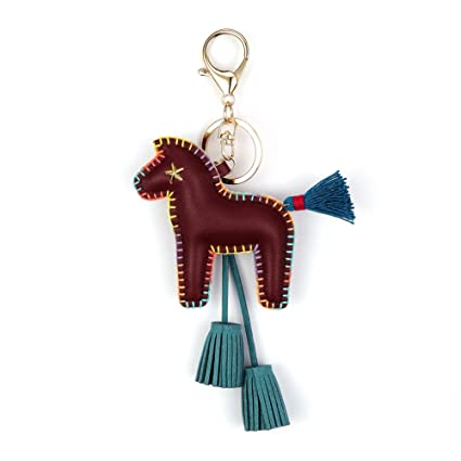 Horse Key Holder With Tassels Keychain Eye Catching Keyring Detailed Stitching