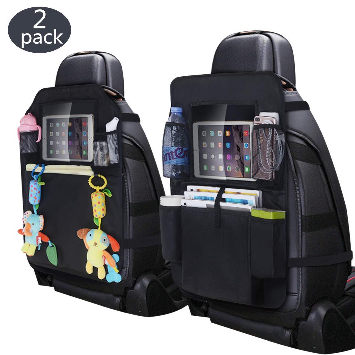 Inwee カーシートバックオーガナイザー タッチスクリーンタブレットホルダー付き マルチポケットと防水キックマットプロテクター 子供と幼児用 トラベルアクセサリー (2個パック)   B07G84DHPQ