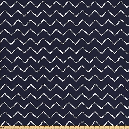 Ambesonne Navy Blue Fabric by the Yard, Chevron Zigzag Ropes Ornamental Arrangement Herringbone Pattern Illustration, Decorative Fabric for Upholstery and Home Accents, Navy Blue White