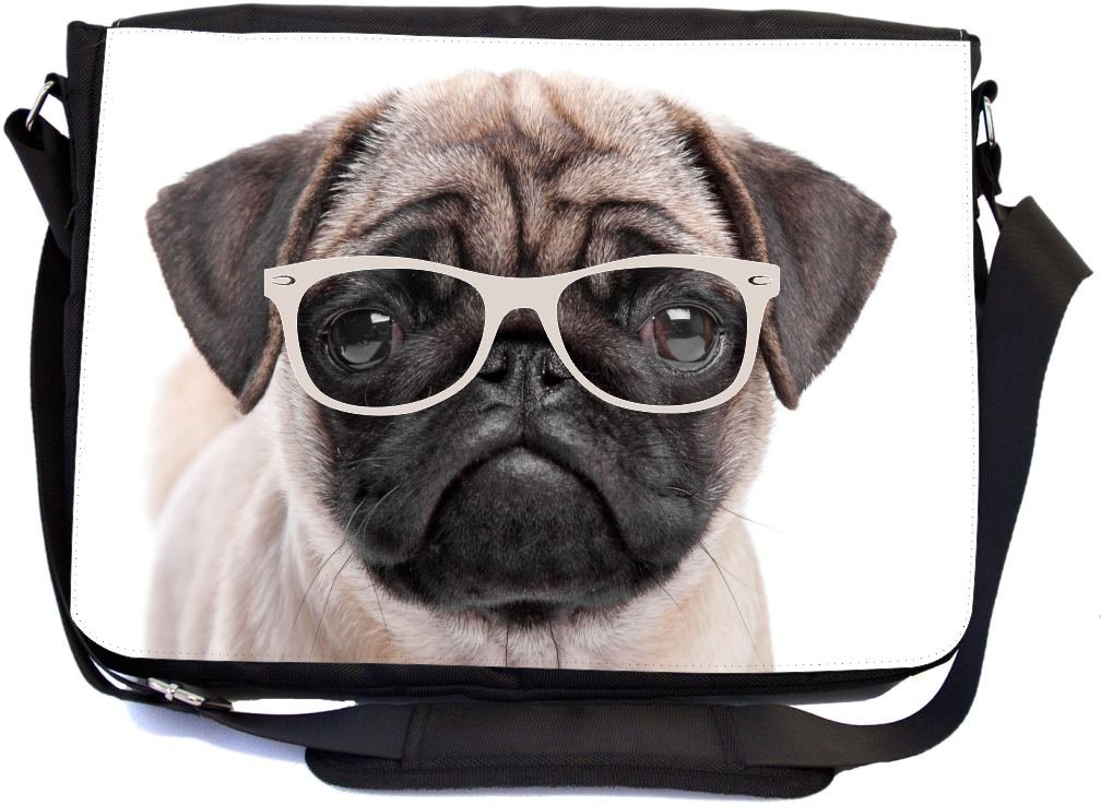 UKBK Hipster Pug Dog Puppy with Glasses Messenger Laptop Bag with Pencil Case by Rikki Knight