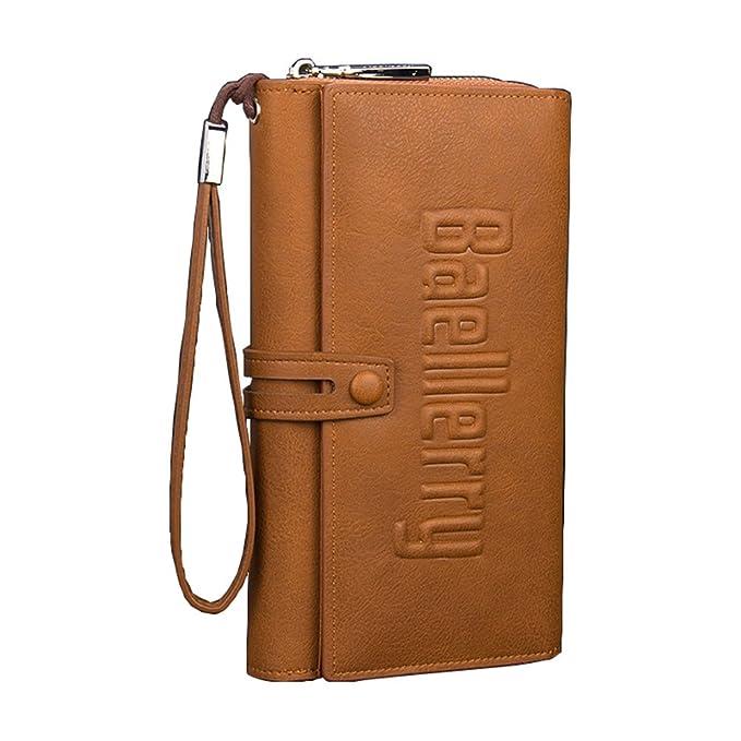 Good Menu0027s High Capacity Clutch Strap Zipper Hasp Wallet,Light Coffee Color