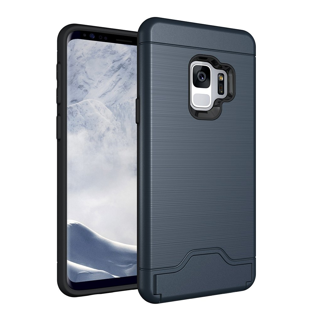 Galaxy S9 Plus S9+ Case, CHIHENG Slim Brushed Armor Rugged Defender Back Shell Shock-Absorption [Card Slot] Dual Layer Protective Case Cover for Samsung Galaxy S9 Plus Navy CA-330823