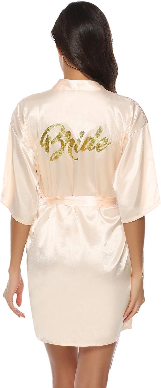 Camicia da Notte con Cintura Scollo V Elegante Vestaglia Corta in Raso Aibrou Donna Pigiama Kimono