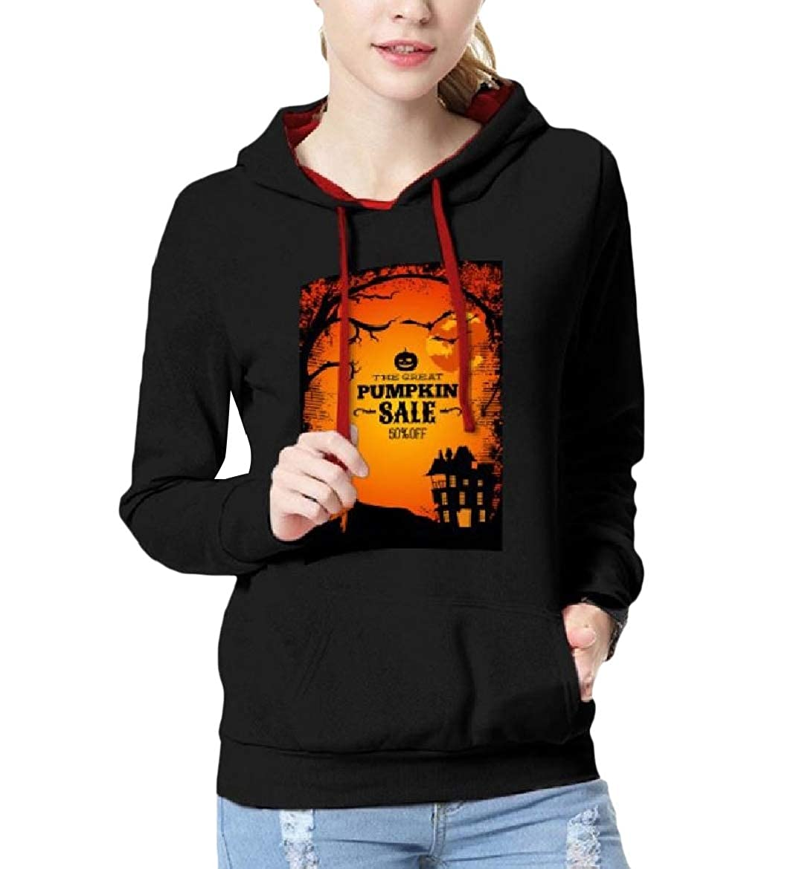 YUNY Womens Long Sleeve Autumn Hood Slim Fit Halloween Sweatshirts Black L
