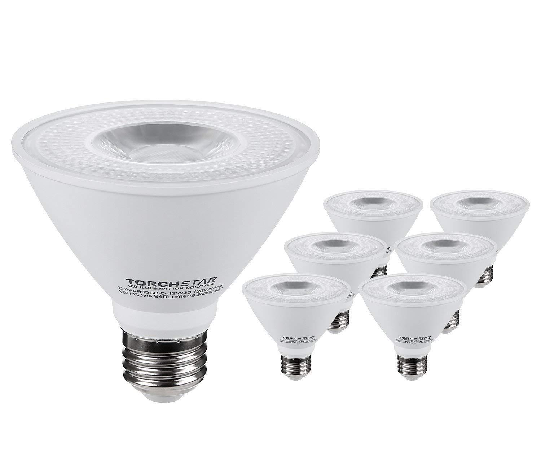 TORCHSTAR PAR30 Short Neck LED Spot Light Bulb, Dimmable, 12W 75W Equiv, High CRI90+, 3000K Warm White, 840Lm, E26 Medium Screw Base, Energy Star & UL Listed LED, 3 Years Warranty, Pack of 6
