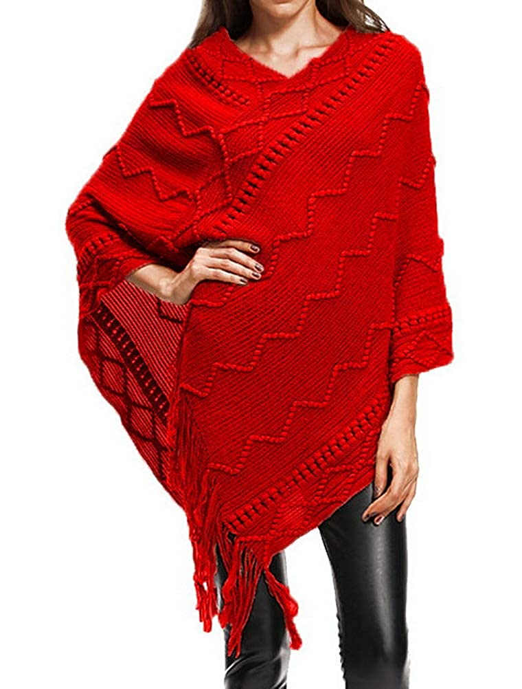 BIUBIONG Women's V Neck Loose Fitting Stripes Poncho Cape Shawl Pullover Sweater