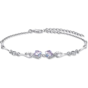 CDE Best Friend Friendship Charm Bracelets for Women Embellished with Cubic Crystals from Swarovski White Gold Plated Bangle Bracelets