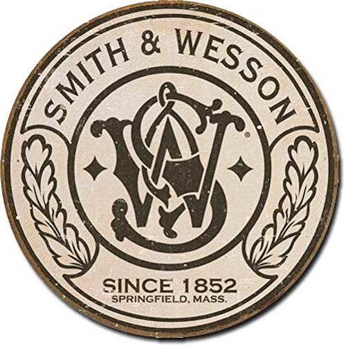 smith-wesson-round-metal-tin-sign-11-by-11-inches-1-count