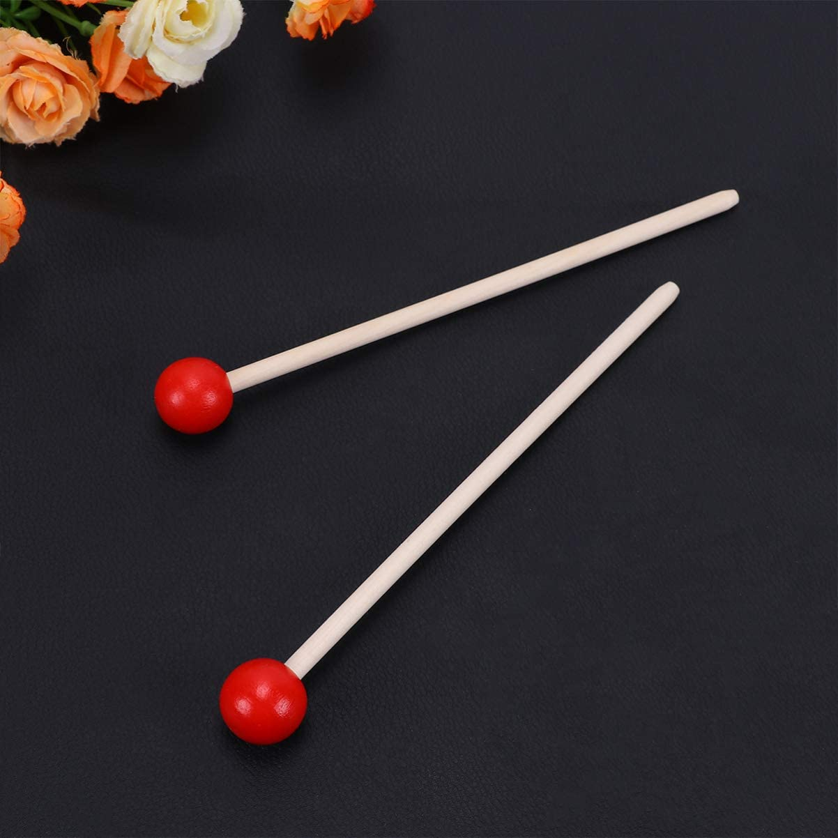 EXCEART 12pcs Percussion Mallets Sticks Multi Purpose Xylophone Chime Bell Stick with Wood Handle Musical Instrument Supplies for Kids Toddler Red