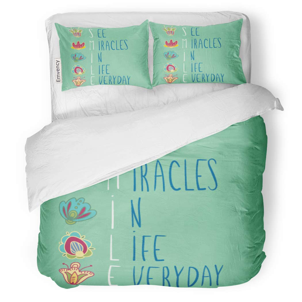 SanChic Duvet Cover Set Cute Inspirational Words See Miracles in Life Everyday Decorative Bedding Set with 2 Pillow Shams King Size