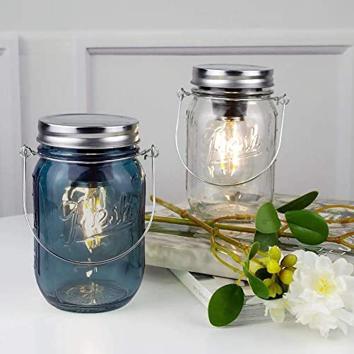 2-Pack Mason Jar Lights Hanging, Cordless Lanterns for Patio, Battery Operated Tabletop Lamp LED Bulb, Outdoor Indoor Decor for Garden Camping Picnic Party Cabin Fireplace Hallway Stairs Clear Blue