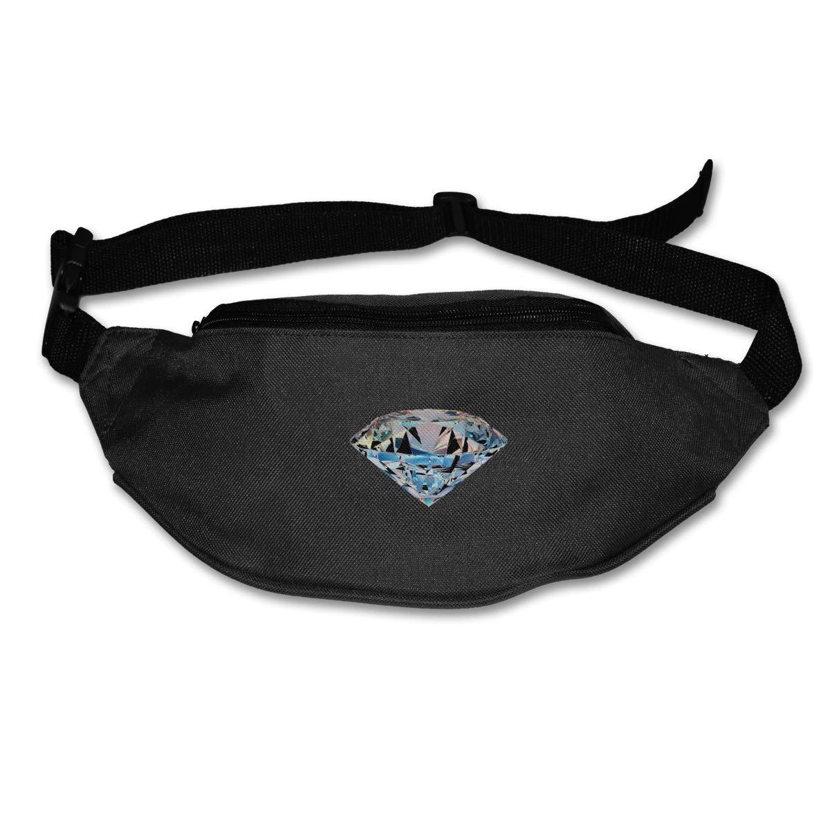 White Diamond Sport Waist Bag Fanny Pack Adjustable For Travel