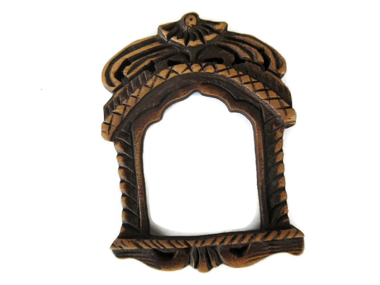 Hand Carved Wooden Window Temple Frame Pendant, Handmade Jharokha Pendant, Jewelry, GDS1046/4 (2 P ieces)