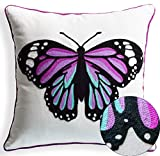 Back to School Chain Embroidery Colorful Butterfly Decorative Throw Pillow Case Cushion Covers 18 x 18 Spring Gifts Indoor Outdoor Decor Spring Decorations, Purple Hue
