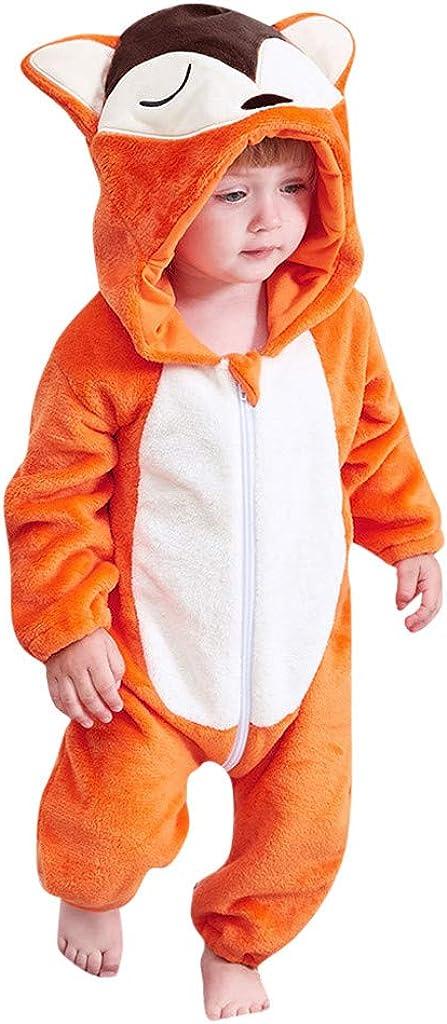 Kword Bambino Pagliaccetto con Cappuccio Prima Infanzia Bambino Bambina Tuta, Neonato Ragazzi Ragazze Flanella Cartoon Modellazione Incappucciato Rompers Abiti Vestiti