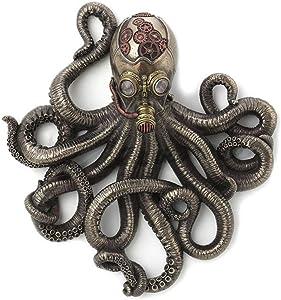 "11.25"" Steampunk Rebreather Octopus Wall Plaque Kraken Statue Home Gothic Decor"