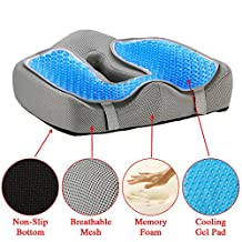 4 in 1 Memory Foam Seat Cushion - Orthopedic Coccyx Support pillow - With Cooling Gel Pad - For Lower Back and Tailbone Pain - Protect Your Back - For Truck Or Car Driver- Ideal For Gift And Travel