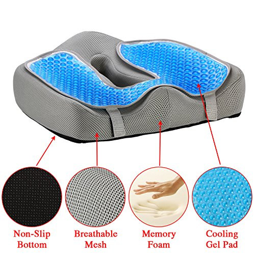 Ziraki Memory Foam Seat/Chair Cushion Orthopedic Coccyx Support Pillow 4 in 1 W/ Cooling Gel- For Back Pain Relief & Sciatica And Tailbone Pain - Protect Your Back - Adjustable To Any Chair or Seat (Medical Pillows Bottoms)