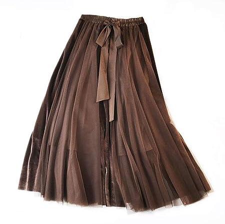 DAFREW Falda de Las señoras Terciopelo Falda Larga Cintura Larga ...