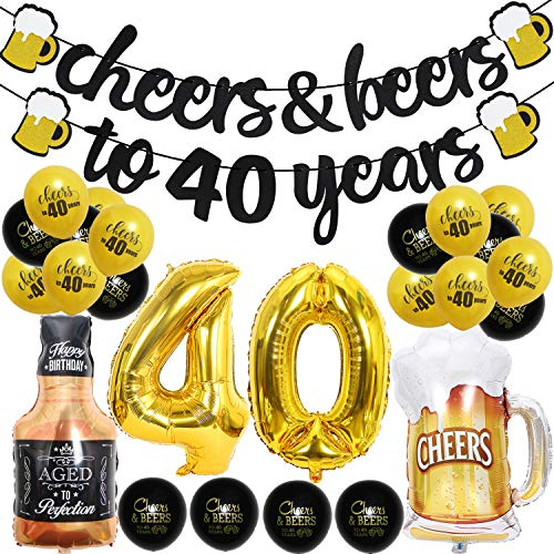 40 Year Anniversary Decorations - Cheers & Beers to 40 Years Banner Forty Sign Latex Balloon 40 inch