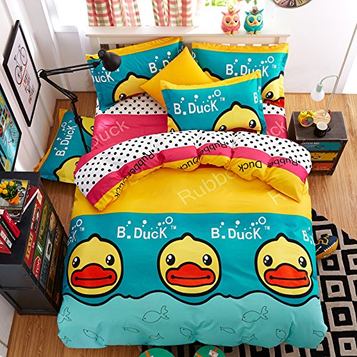 Fashion Monkey Design Kids/Adult Bedding Sets 4pcs/Set Bedsheet Duvet Cover Pillow Cases Twin Full Queen King Size (Twin, BIg Duck) ()