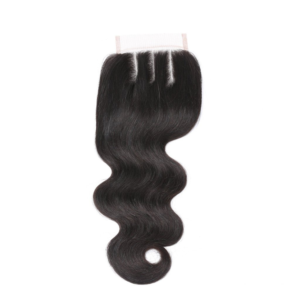 Brazilian Body Wave 4'x4'Free Part Lace Closure 130% Density Virgin Remy Human Hair Natural Color 14' NEWFB