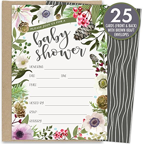 Winter Baby Shower Invitations with Rustic Winter Florals. Set of 25 Fill in the Blank Style Invites and Kraft Envelopes. Printed on Front and Back.