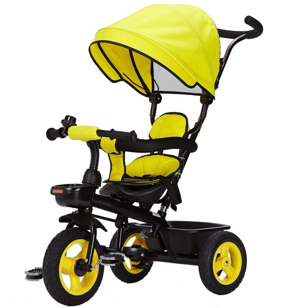 三輪車の赤ちゃんキャリッジバイク子供のおもちゃの車のチタンの空の車の自転車3つの車輪、保護的な天井(少年/少女、1-3-5歳) (色 : イエロー いえろ゜) B07DVCNJ95 イエロー いえろ゜ イエロー いえろ゜
