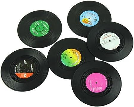 Material: silicona.,Posavasos con diseño de discos de vinilo, estilo retro, decoración creativa, par
