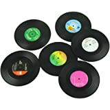 6Pcs Vinyl Coaster Record Cup Drinks Holder Mat Tableware Placemat Tea Cup Mat