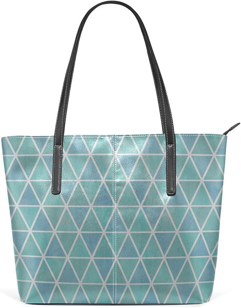 Bolsos de moda Tote Bag Top Handle Shoulder Bags Watercolor Different Color Triangle Large Printed Shoulder Bags Handbag Pu Leather Top Handle Satchel Purse Work Tote Bag For Women Girls
