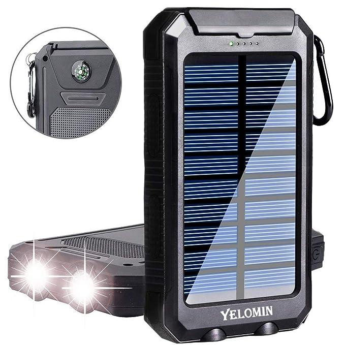 Yelomin Cargador Solar para teléfono portátil, Resistente al Agua ...