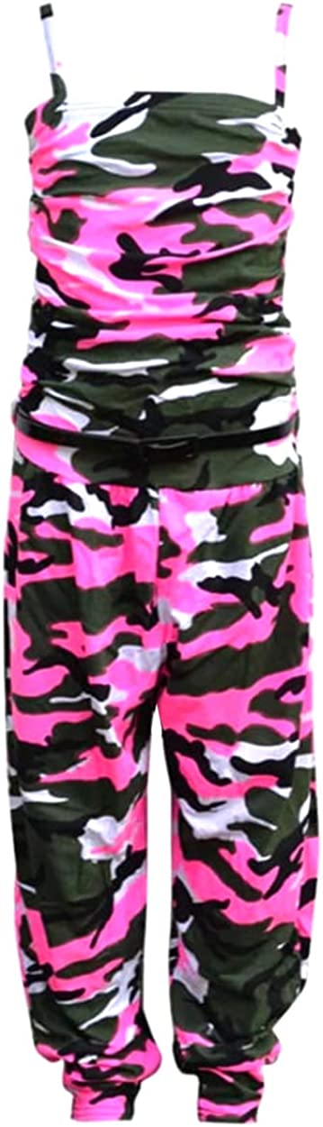 Aelstores Girls Kids Sleeveless Floral Neon Camouflage Diamond Zebra Jumpsuit Dress Playsuit Age 7-14 Years