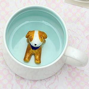 Dog Tea Mug - 3D Ceramics Figurine Coffee Mug for Christmas Birthday For Hot Drinks & Cold Beverages – Dishwasher Safe Novelty Cup – Great Gift Idea For Dog Owners 13OZ