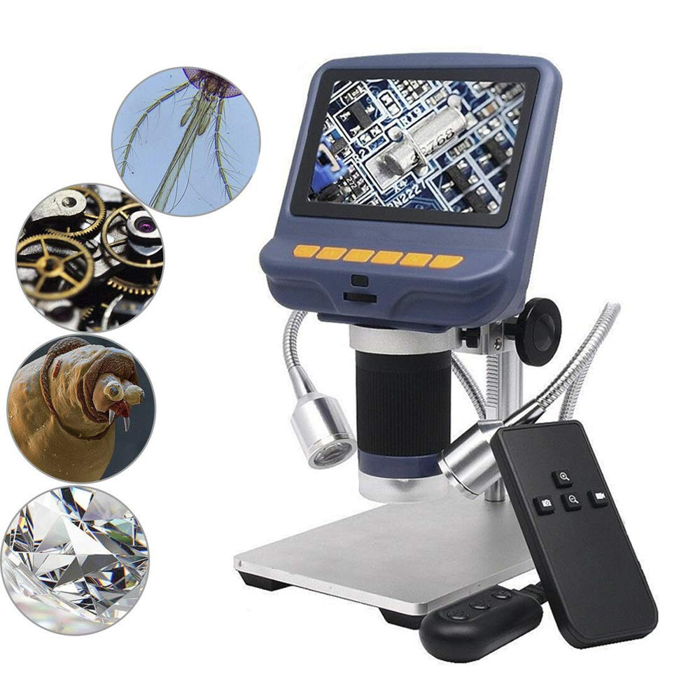 YaeCCC 4.3 inch 1080P LCD Digital USB Microscope with 10X-220X Magnification Zoom,Camera Video Recorder for Phone Repair Soldering Tool Jewelry Appraisal Biologic Use,8 LED Adjustable Light by YaeCCC
