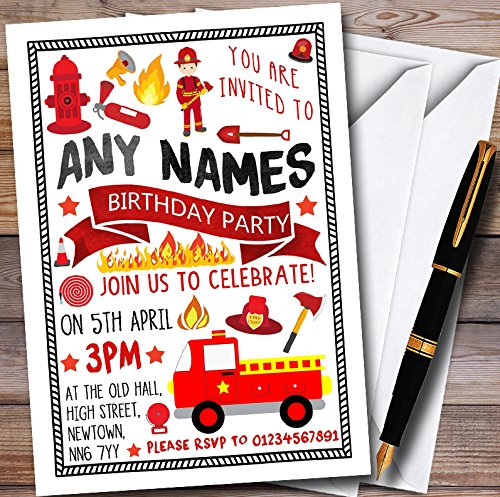 10 x Fire Engine Truck Fireman Fire Fighter Personalized Childrens Birthday Party Invitations (Invitations Firefighter Party Birthday)