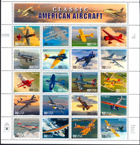 1997 Classic American Aircraft - Sheet of Twenty Stamps Scott 3142 by - Canada Usps