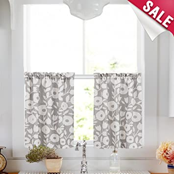 Tier Curtains For Kitchen Windows 36 Inch Linen Textured Cafe Curtains Vintage Floral Printed Window Curtains For Bathroom Rod Pocket Short Curtains