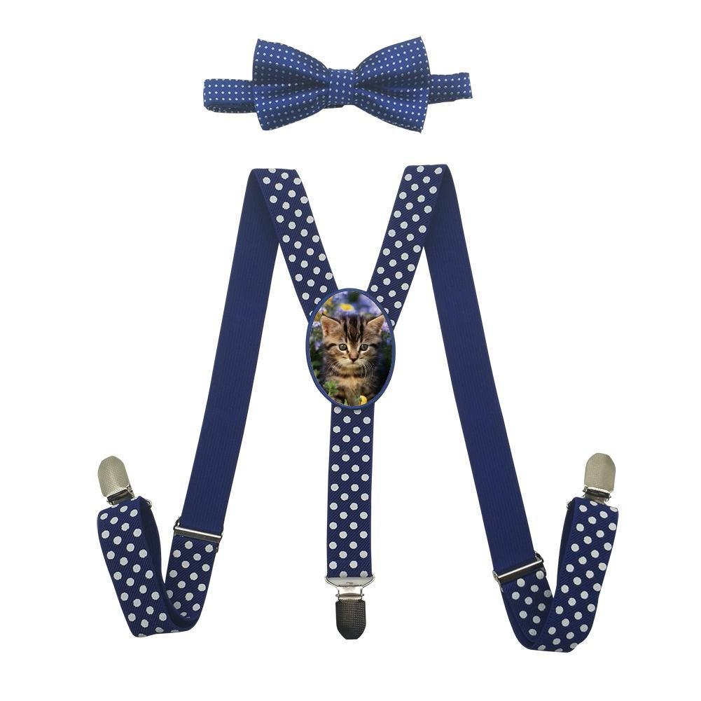 Qujki Cat Garden Cute Animal Suspenders Bowtie Set-Adjustable Length