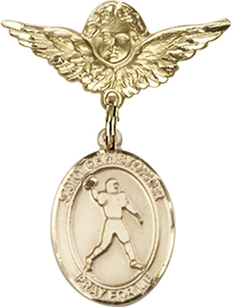14Kt Yellow Gold Baby Badge mit St. Christopher/Football Charm und Angel W/Wings Badge Pin 1 X 3/4 Inches
