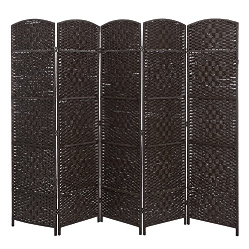 Handwoven Bamboo 5 Panel Partition Semi-Private Room Divider with Dual Hinges, Brown