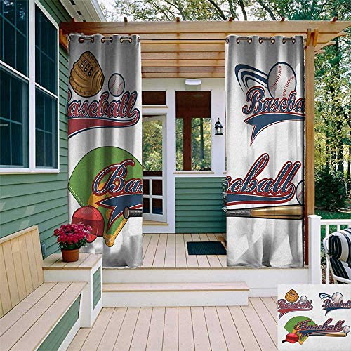 leinuoyi Sports, Outdoor Curtain Set, Baseball Mitt Ball Bat Hardball Supplies Exercise Team Various Classical Designs, for Patio W108 x L108 Inch Multicolor ()