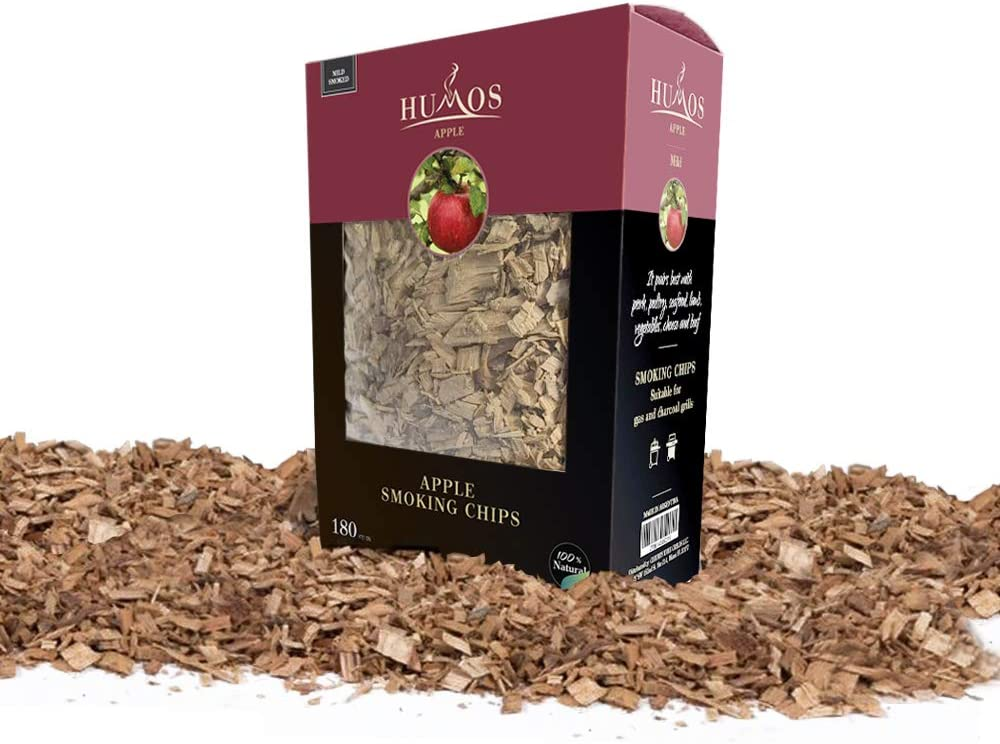 HUMOS - Apple BBQ Smoking Chips. 100% Natural selected woods from Argentina. 180 CU IN. For Charcoal, Gas and Electric Grills, Kamados and Smokers. Give smoky flavor to your food!