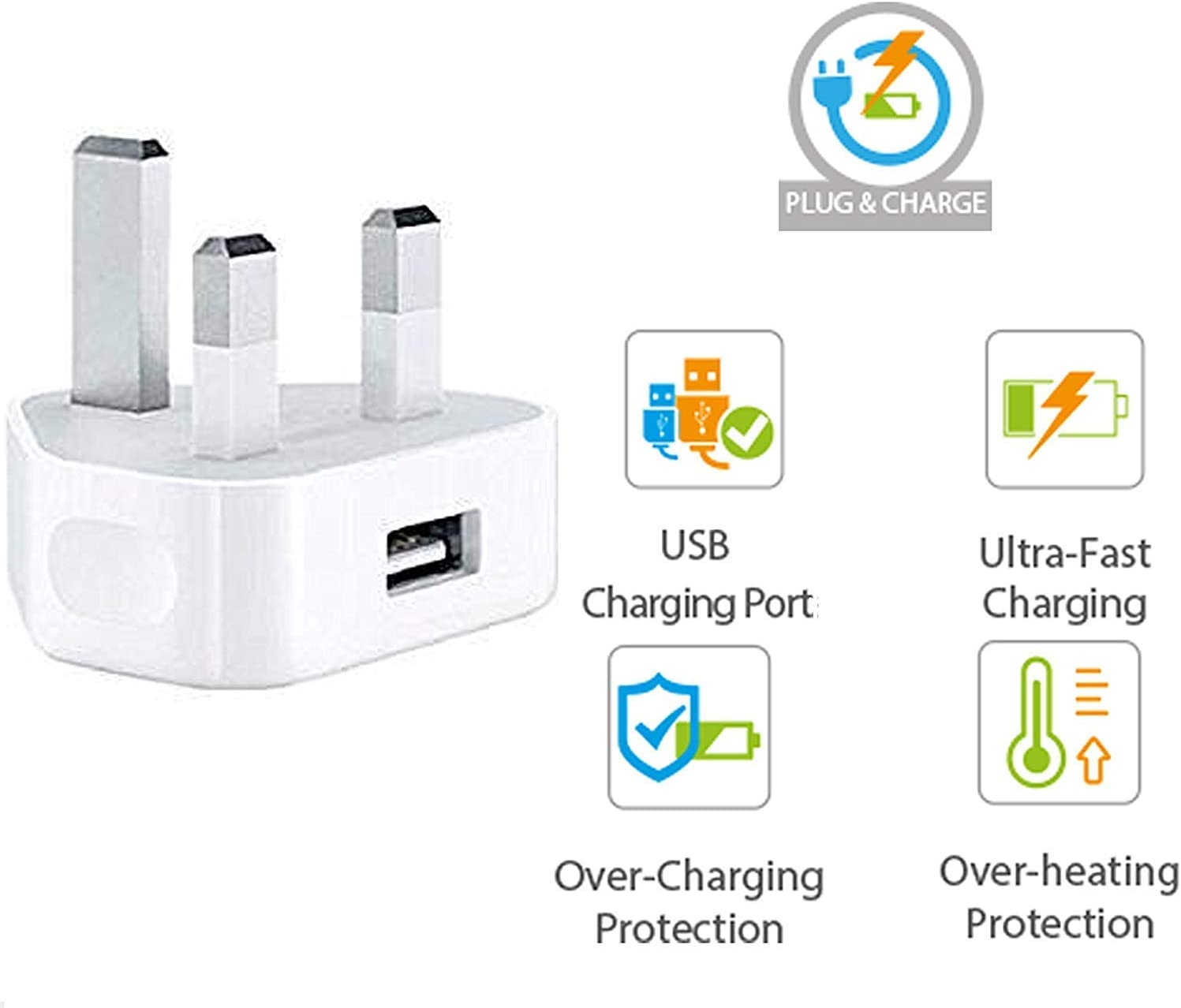 UK Mains Charger Single USB 1 Amp, In